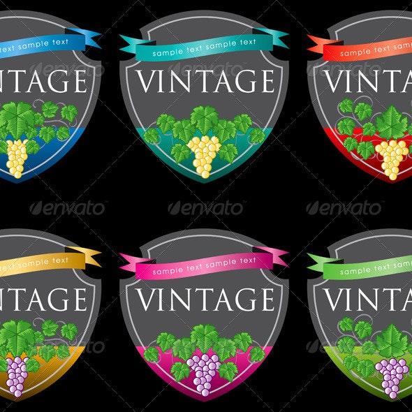 Wine Labels Design Template Set - Decorative Vectors