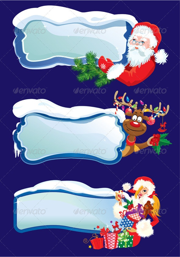 Set of Horizontal Banners with Snowdrifts - Christmas Seasons/Holidays