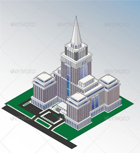 Isometric skyscrapers imitate Stalinist style - Buildings Objects