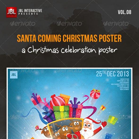 Santa Coming Christmas Poster
