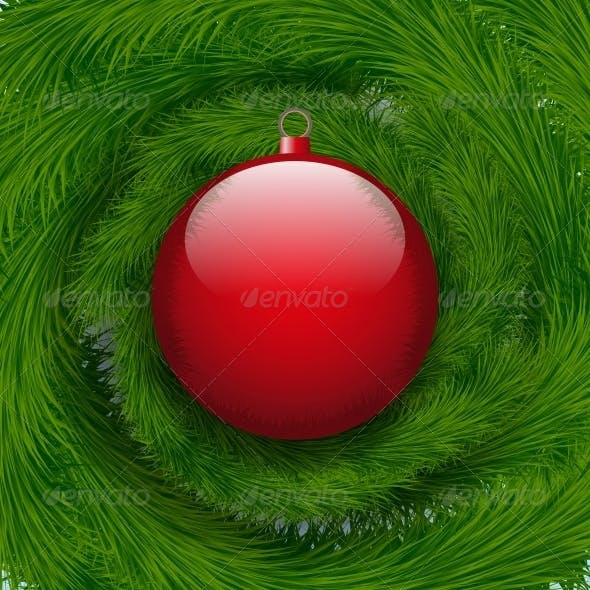 Background Christmas Ball and Spruce Tree