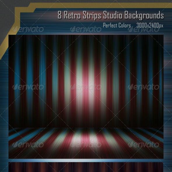8 Retro Strips Studio Backgrounds