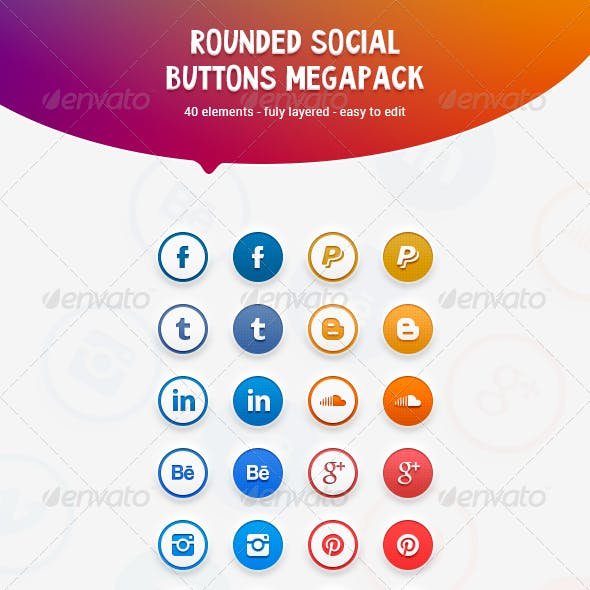 Rounded Social Buttons Megapack