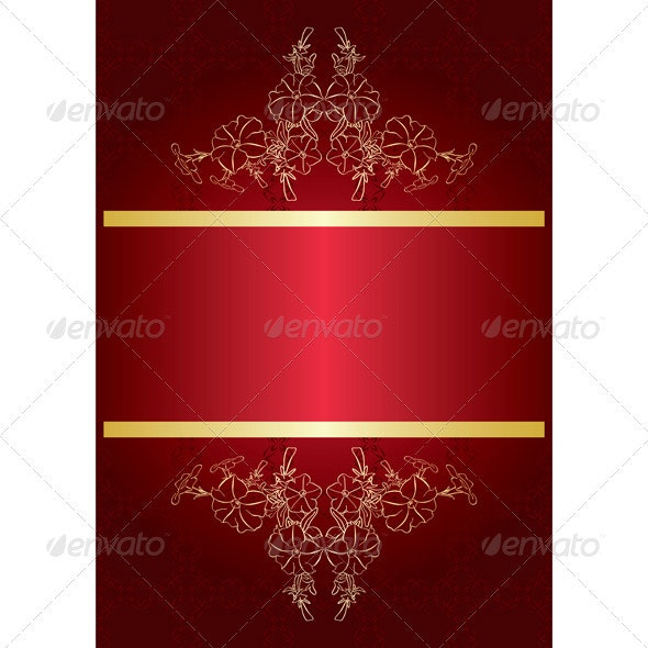 Elegant red card with golden decor - vector - Borders Decorative