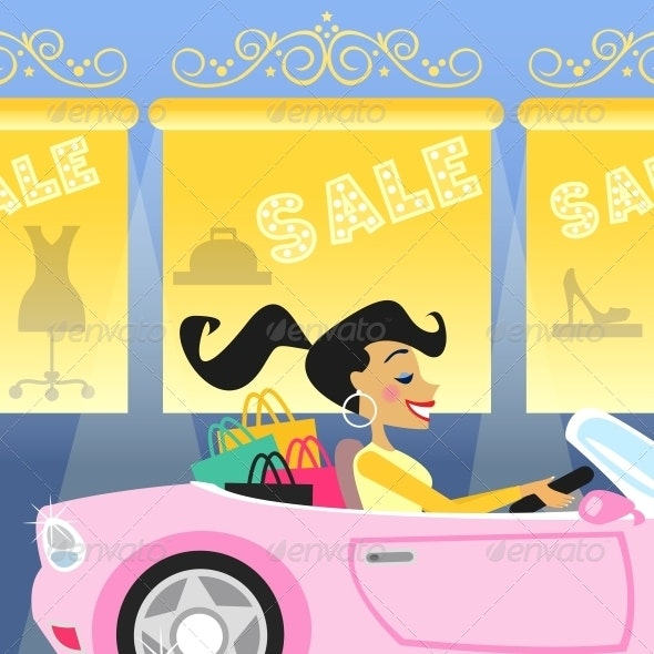 Girl Shopping in Car - Retail Commercial / Shopping