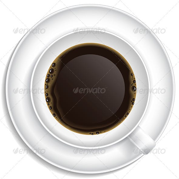 White Cup with Coffee on Saucer