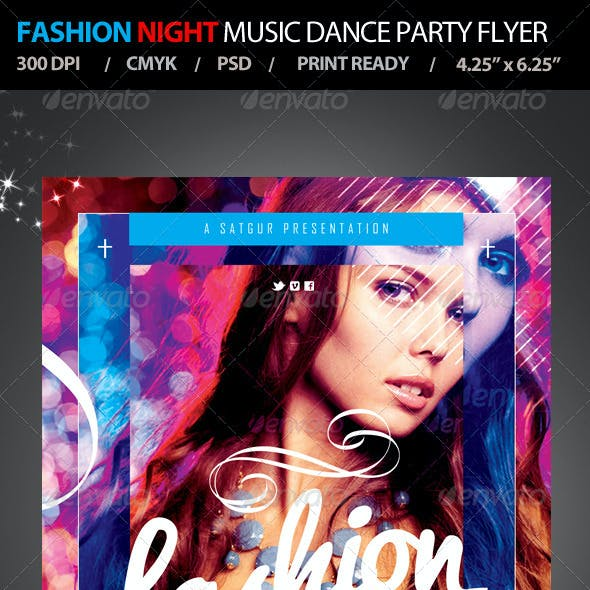 Fashion Night Music Dance Party Flyer