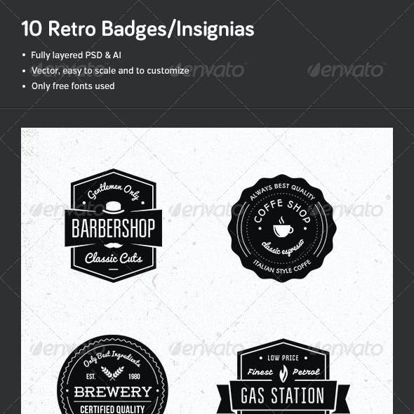 10 Retro Badges/Insignias