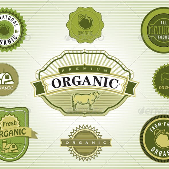 Vector Set of Organic and Natural Food Labels