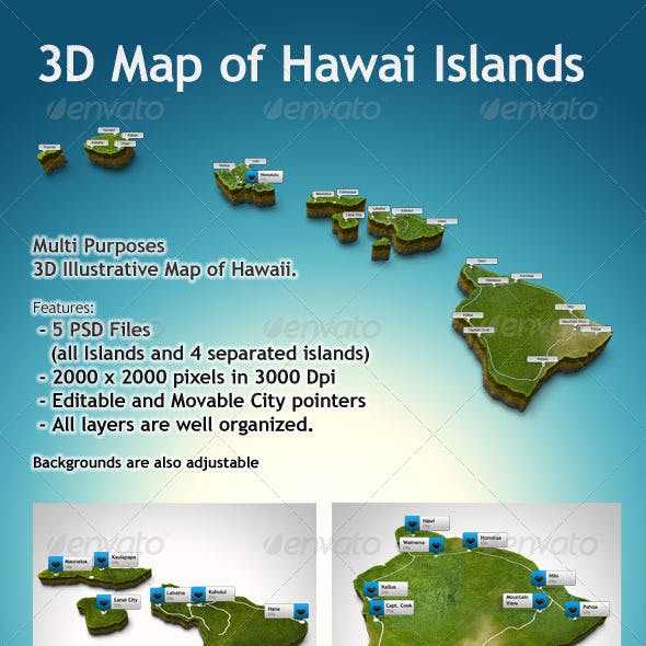 3D Hawaii Map Illustrative