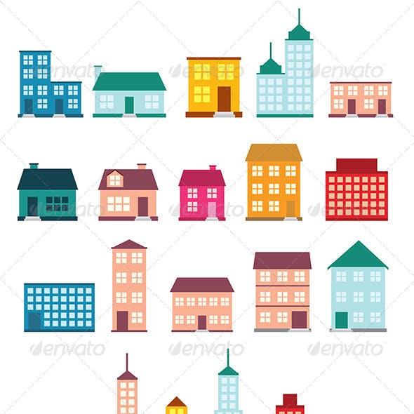 Flat Style House Icons