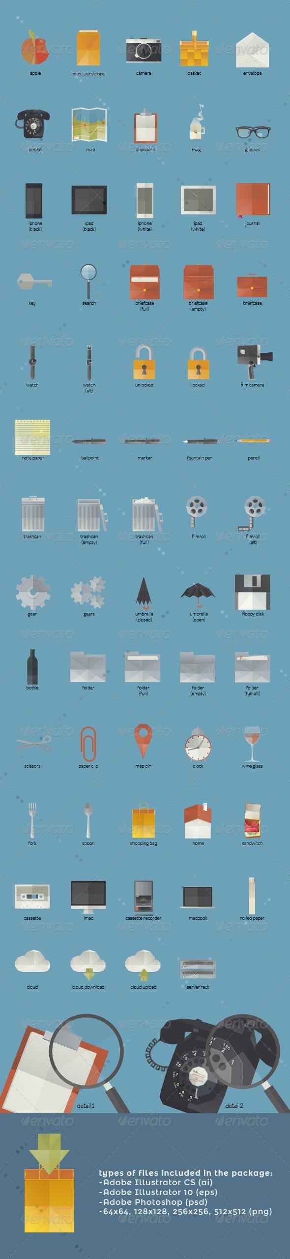 Folded Paper Flat Icons - Web Icons