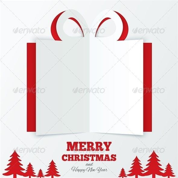 Christmas Box Cut the Paper. Christmas Tree.