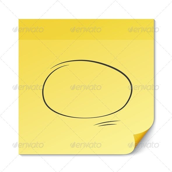 Yellow Stick Note with Speech Bubble on White.