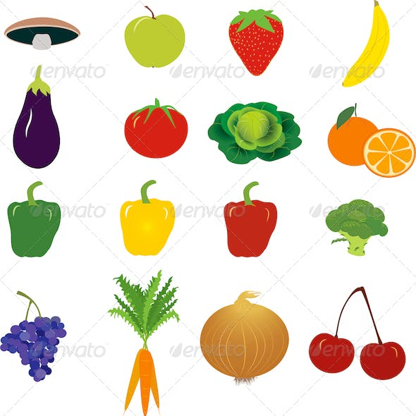 Group of Vegetables and Fruit