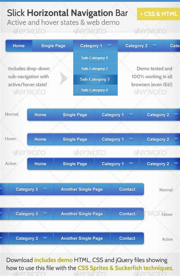 Slick Horizontal Navigation Bar - Web Elements