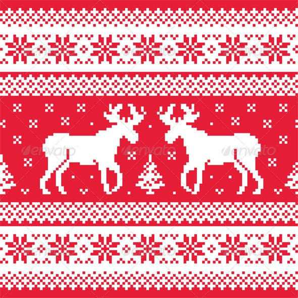 Christmas and Winter Knitted Pattern with Reindeer