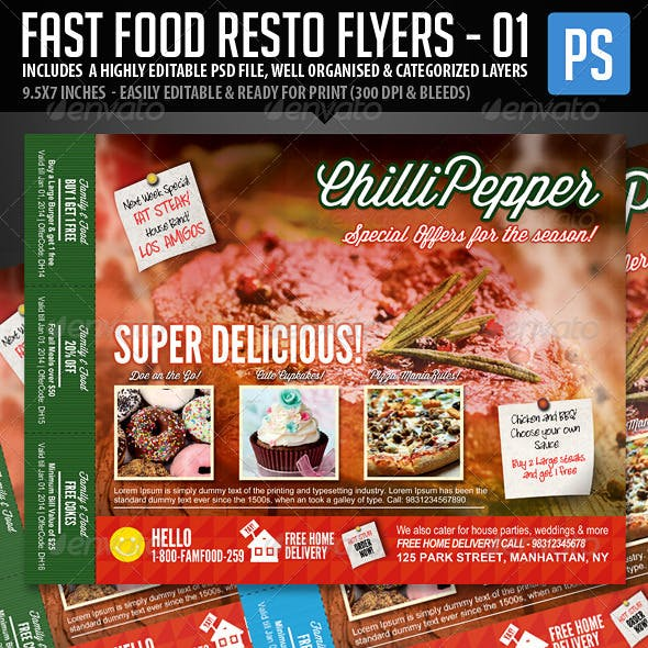 Fast Food Resto Menu & Catering Flyers