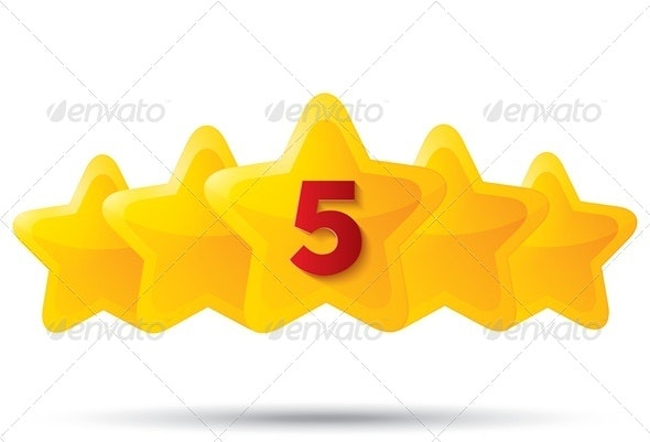 Five Golden Stars with Number 5 - Web Technology