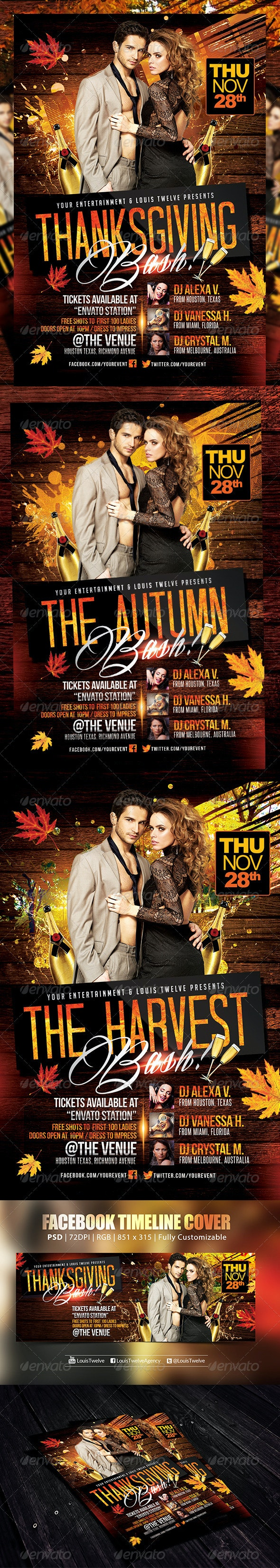 Thanksgiving or Autumn Bash | Flyer + FB Cover - Holidays Events
