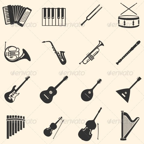 Vector Set of 16  Musical Instruments Icons