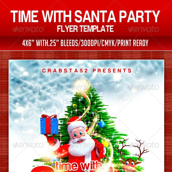 Time With Santa Party Flyer Template