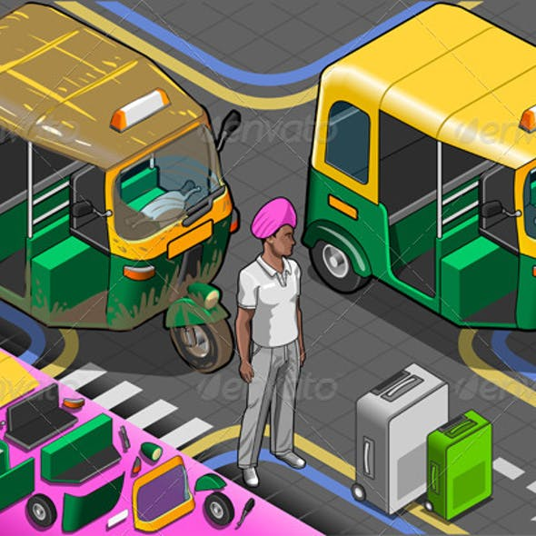 Isometric Indian Rickshaw in Front View