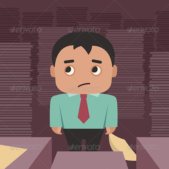Businessman Overwhelmed By A Paperwork