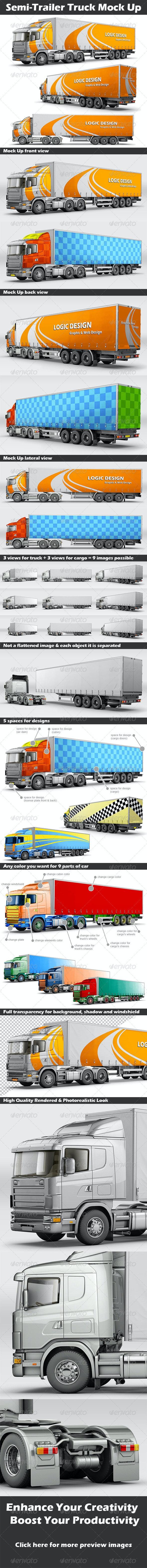 Semi-Trailer Truck Mock Up - Product Mock-Ups Graphics