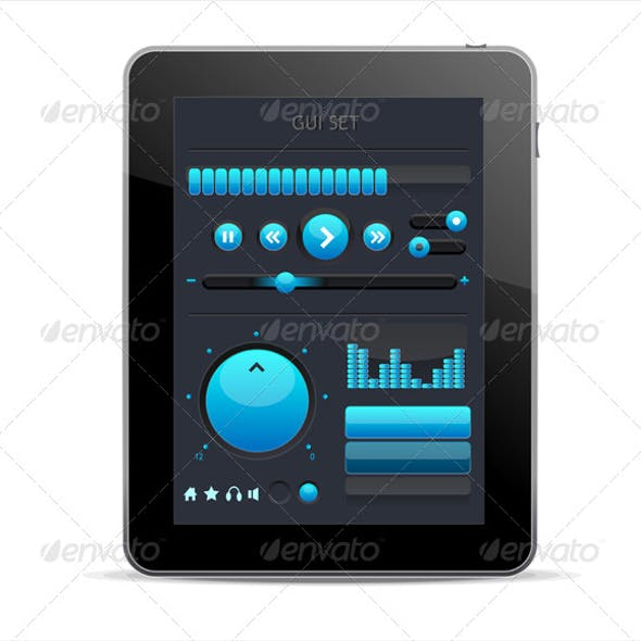Blue GUI Elements for Tablet
