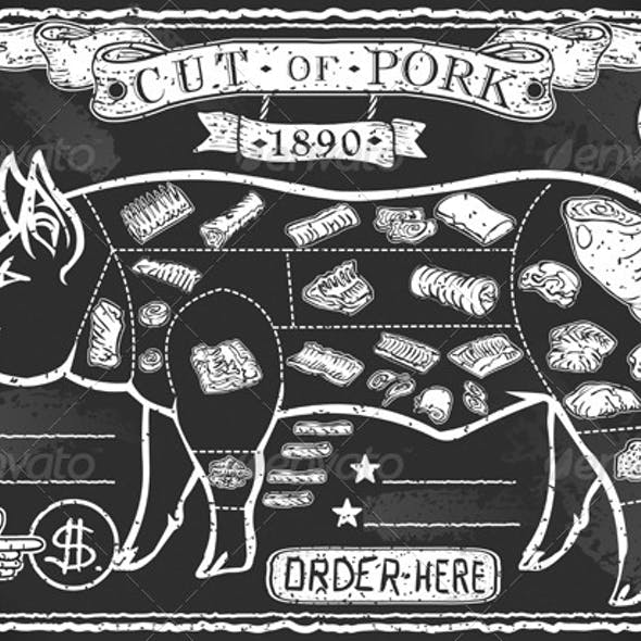 Vintage Blackboard Cut of Pork