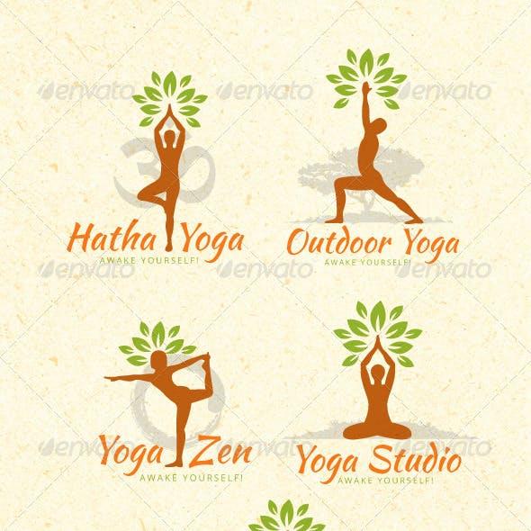 Organic Yoga Vector Design Elements