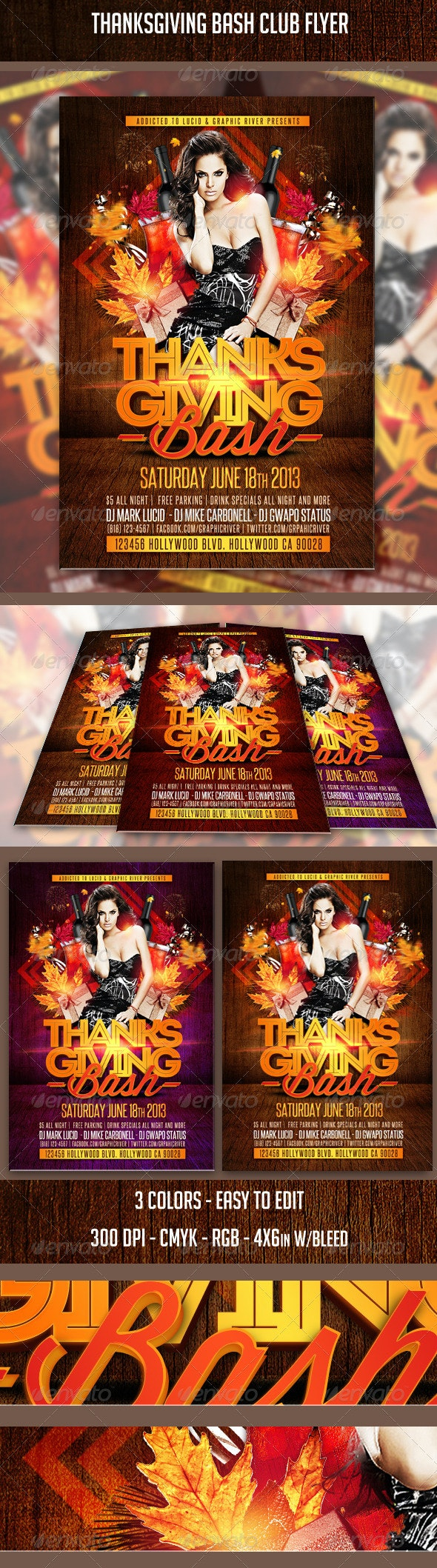 Thanksgiving Bash Club Flyer - Clubs & Parties Events