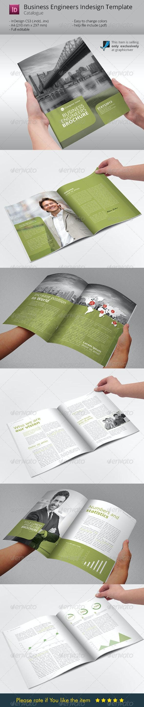 Business Engineers Green Indesign Template - Corporate Brochures