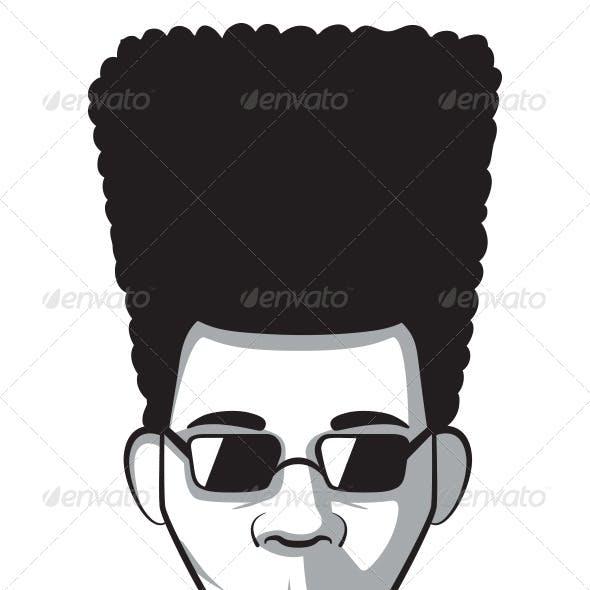 Man with Afro Vintage Portrait
