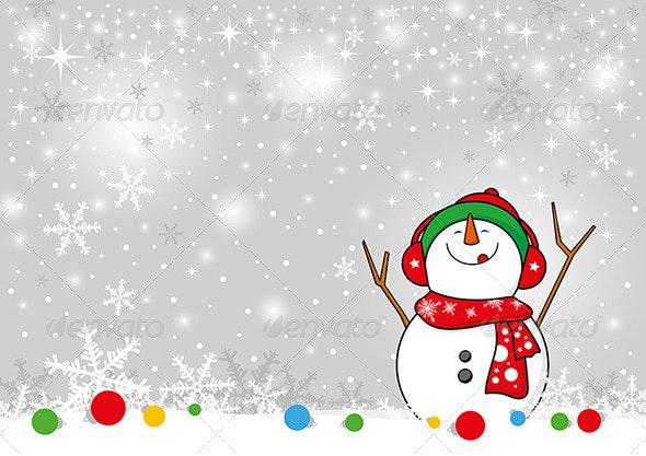 Snowman Design for Christmas Background  - Christmas Seasons/Holidays
