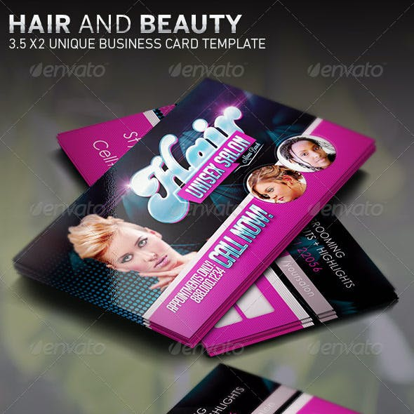 Hair and Beauty: Business Card Template