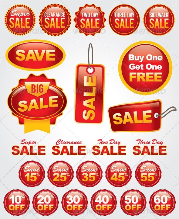 Vector Set of Sale and Promotion Labels and Badges - Concepts Business