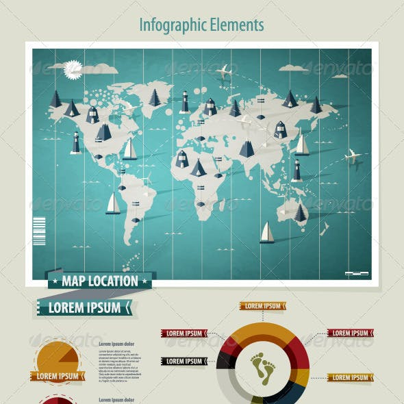 Set elements of infographics. World Map