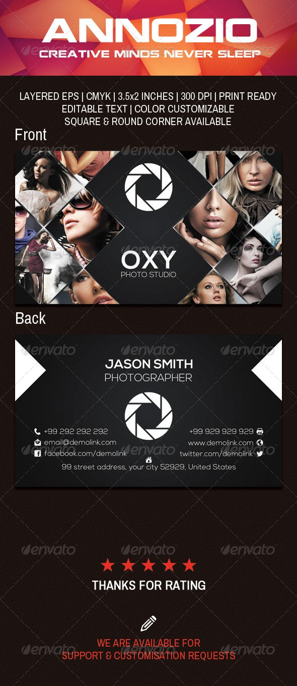 Photo Studio Business Card AN0015 - Industry Specific Business Cards
