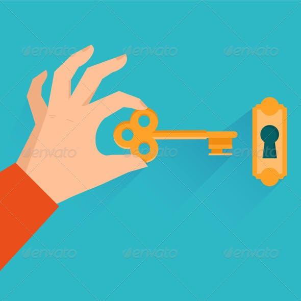 Vector Hand Holding Golden Key