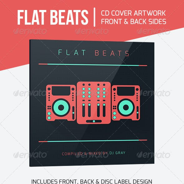 Flat Beats - DJ Mix CD Cover Artwork Template