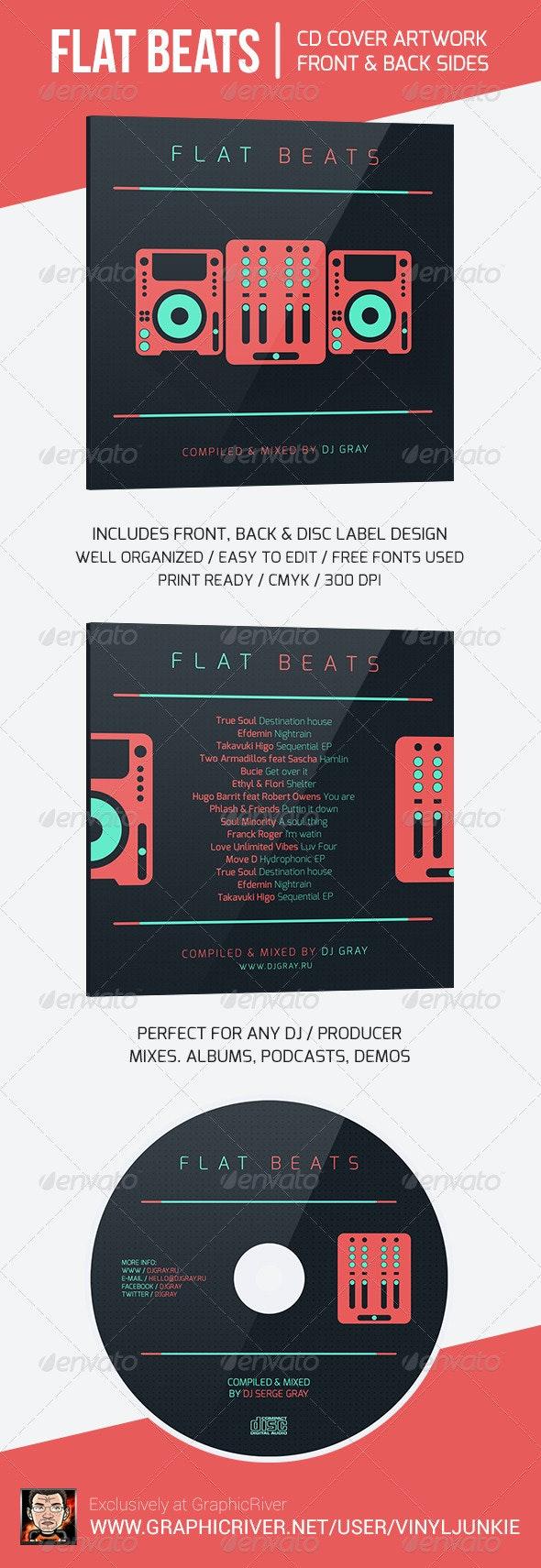 Flat Beats - DJ Mix CD Cover Artwork Template - CD & DVD Artwork Print Templates
