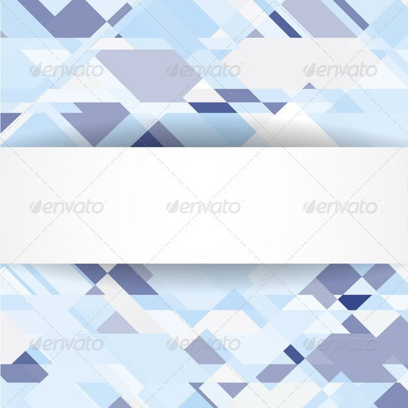 Blue Geometric Background with White Banner - Backgrounds Decorative