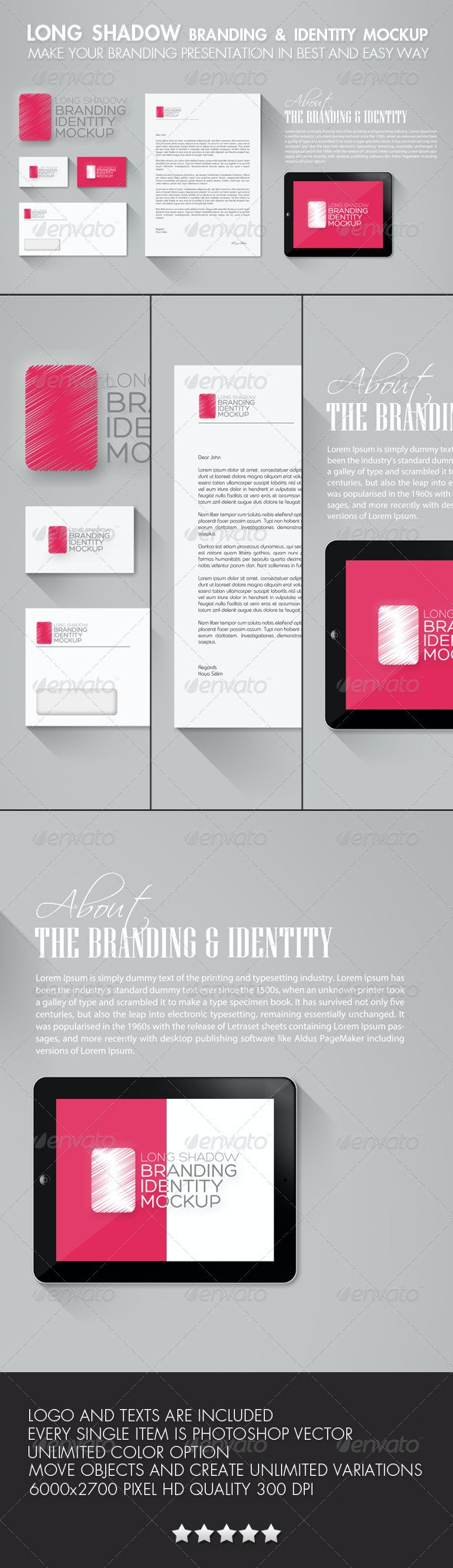 Long Shadow Branding & Identity Mockup - Stationery Print