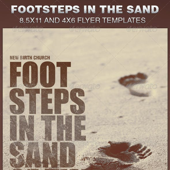 Footsteps in the Sand Church Flyer Template