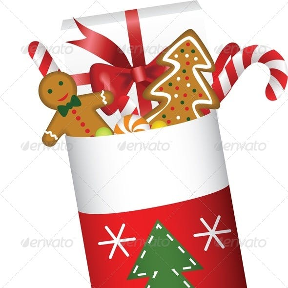 Christmas Stocking Full of Gifts and Cookies