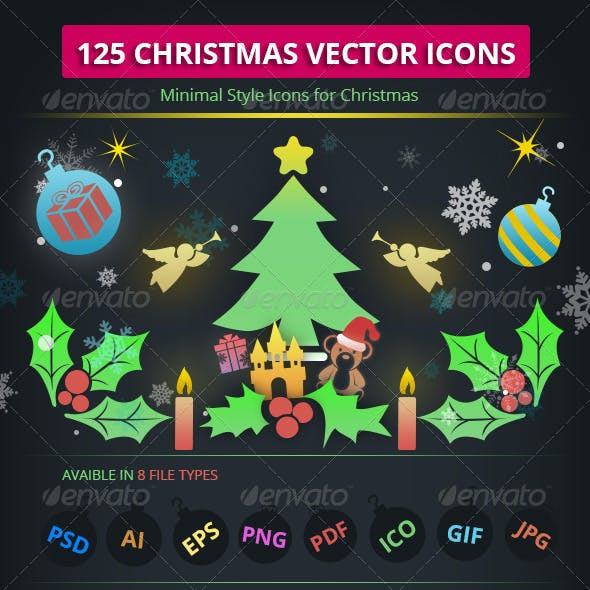 125 Vector Christmas Icons