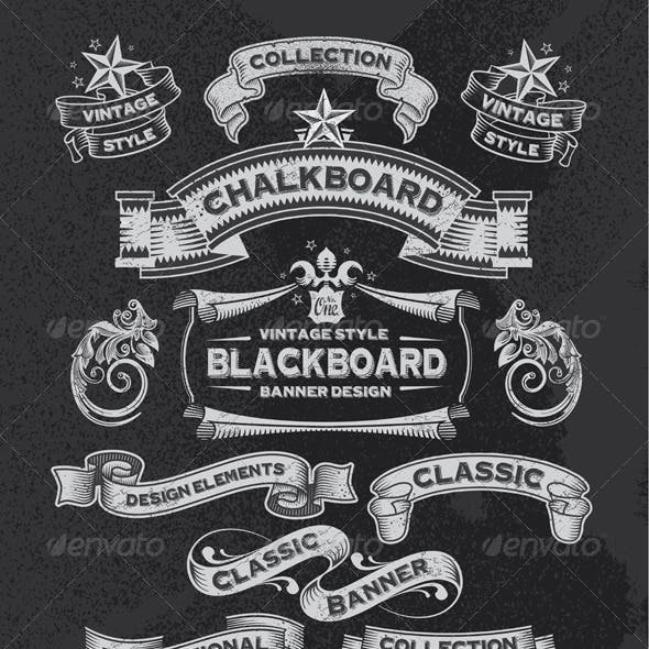 Chalkboard Banners and Ribbon Vector Design