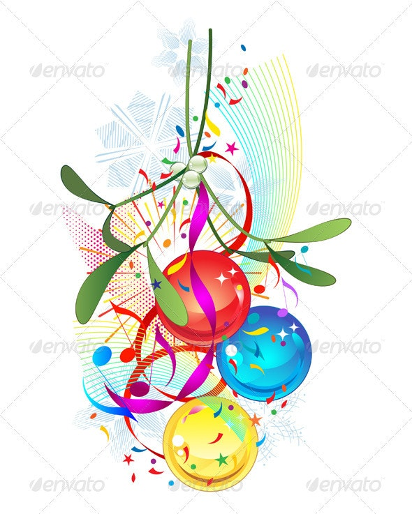 Mistletoe and Christmas bauble decoration - Christmas Seasons/Holidays